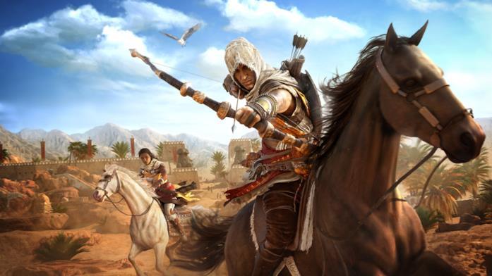 Bayek a cavallo in Assassin's Creed Origins