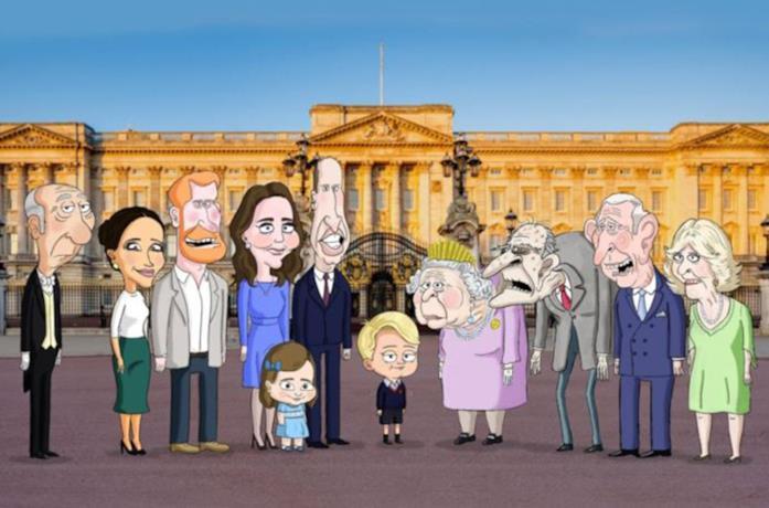 La famiglia reale britannica nella serie animata