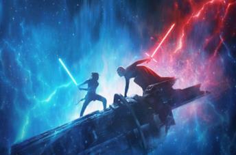 Un'immagine di Rey e Kylo mentre duellano nel poster de L'Ascesa di Skywalker