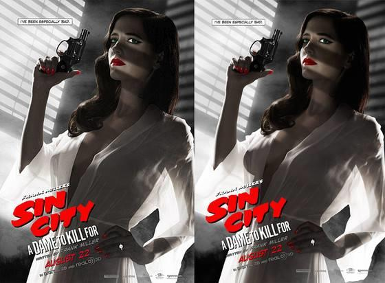 Il poster approvato e quello censurato di Sin City - Una donna per cui uccidere