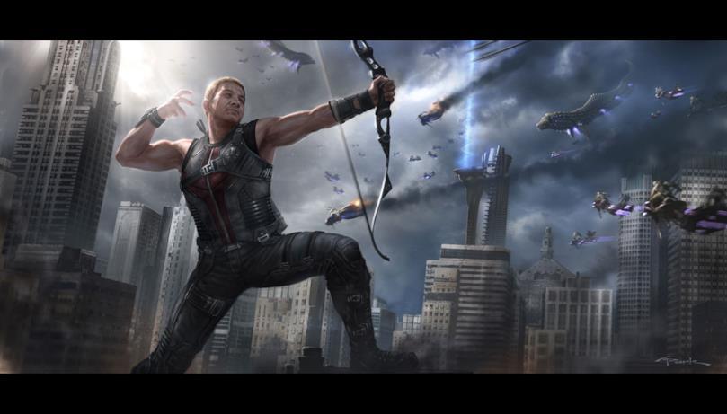 In The Avengers, Occhio di Falco mira e spara con il suo arco