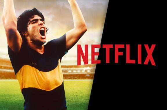Diego Armando Maradona (sinistra) e il logo di Netflix (destra)