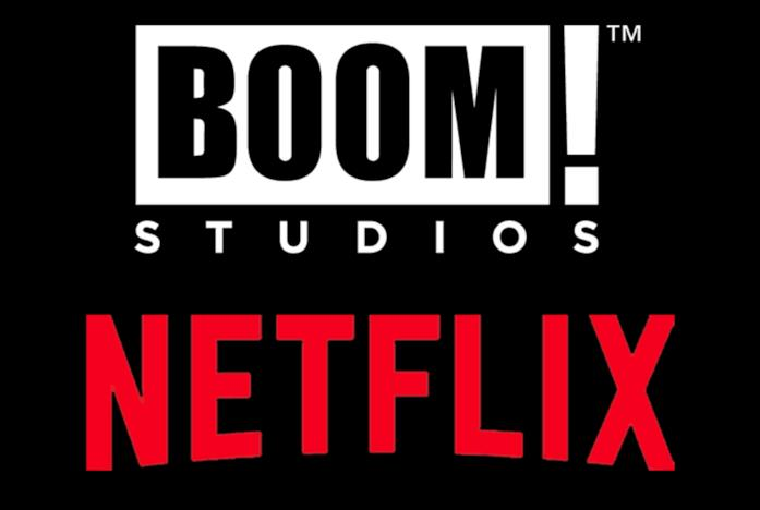 I loghi di BOOM! Studios e Netflix su sfondo nero