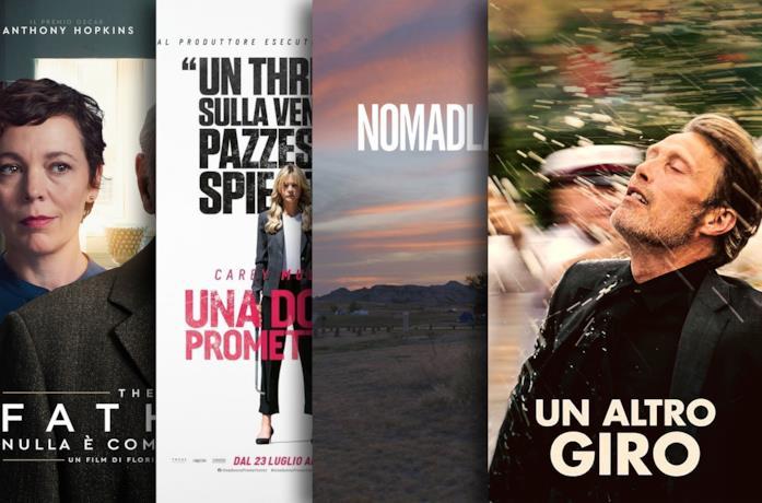 I poster di The Father - Nulla è come sembra, Una donna promettente, Nomadland, Un altro giro