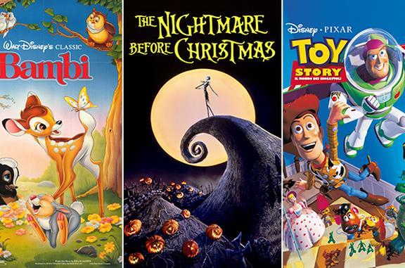 I poster di Bambi, The Nightmare Before Christmas e Toy Story - Il Mondo dei Giocattoli
