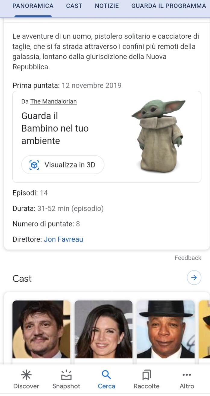 La visualizzazione 3D di Baby Yoda su Google