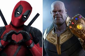 Deadpool e Thanos con il Guanto dell'Infinito