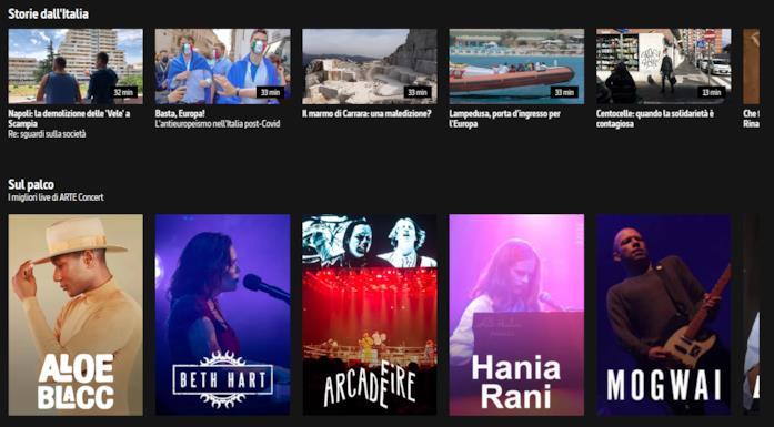 La sezione 'Sul palco' di ARTE TV Italia
