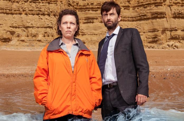 Olivia Colman e David Tennant in una foto promozionale per Broadchurch