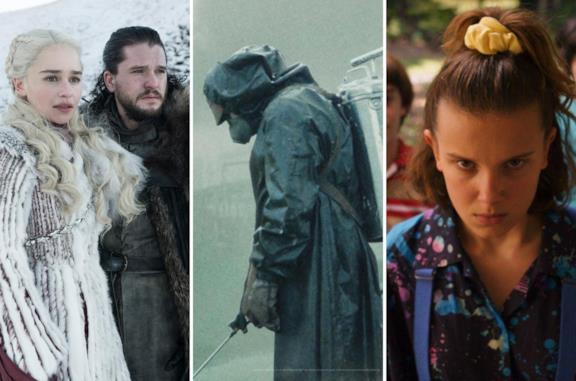 Da sinistra: Il Trono di Spade, Chernobyl e Stranger Things
