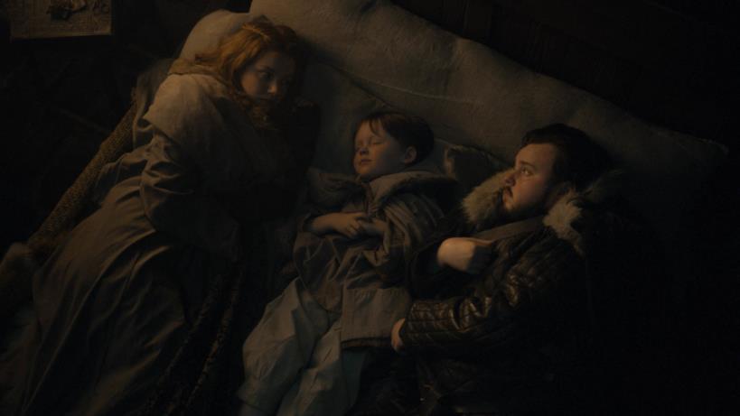 Gilly, il piccolo Sam e Sam in GoT 8x02