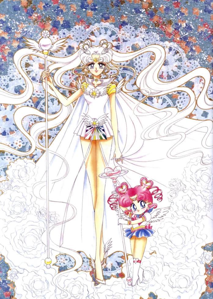Sailor Cosmos e Chibi Chibi disegnate da Naoko Takeuchi