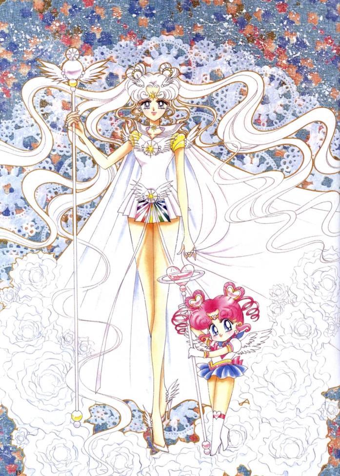 Sailor Comos e ChbiChibi disegnate da Naoko Takeuchi