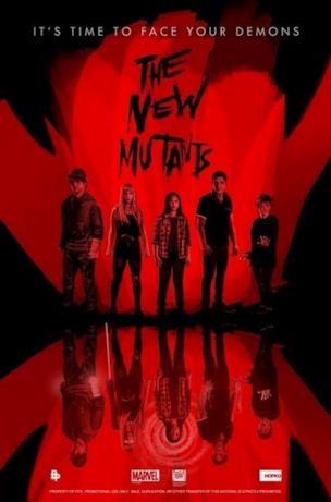 I ragazzi di The New Mutants in nero su sfondo rosso
