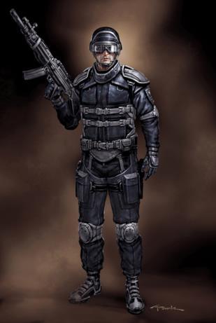 Un agente dello S.H.I.E.L.D. con casco, occhiali e fucile