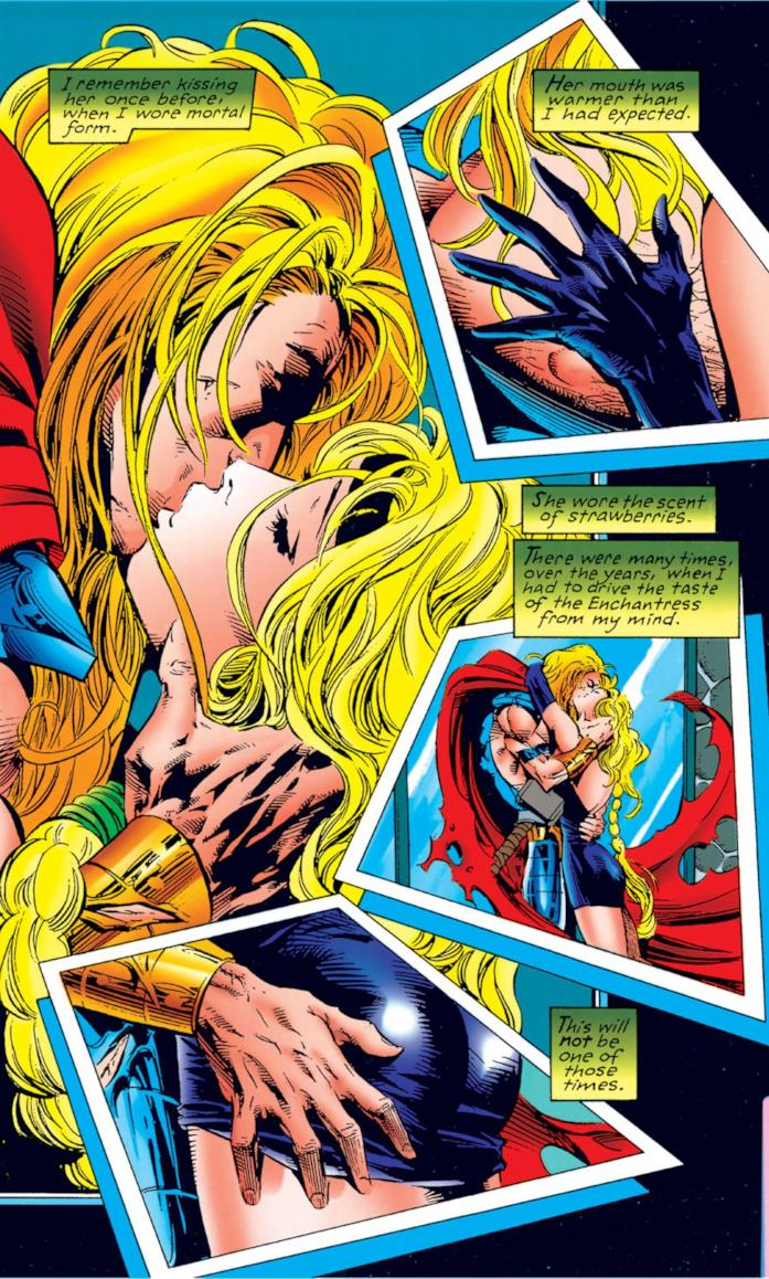 Il bacio tra Thor e Amora