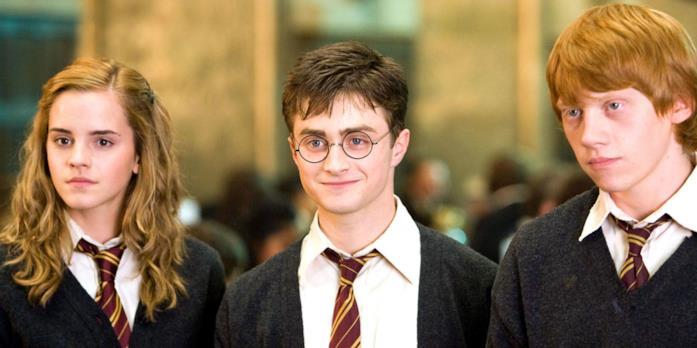 Da sinistra a destra: Hermione, Harry e Ron, dalla saga cinematografica di Harry Potter