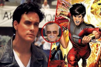 Brandon Lee (sinistra), Stan Lee (centro) e Shang-Chi (destra)