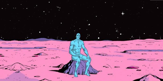 Vignetta disegnata in cui il personaggio di Dr. Manhattan è seduto su un masso marziano