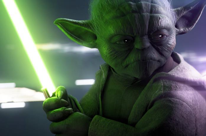Un primo piano di Yoda nel videogioco Star Wars Battlefront II
