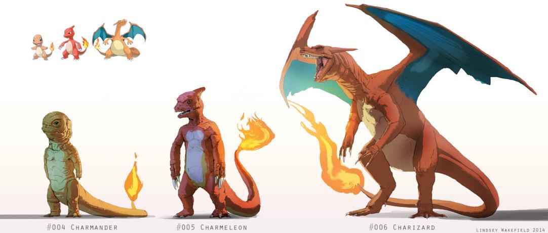 Le iper-realistiche evoluzioni di Charmander disegnate da Lindsey Wakefield