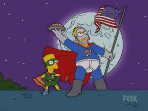 Homer e Bart nell'episodio L'Uomo Torta de I Simpson