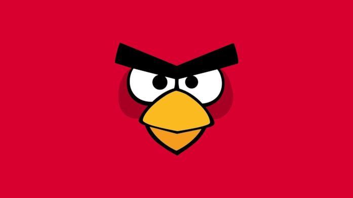 Primo piano di un Angry Bird rosso