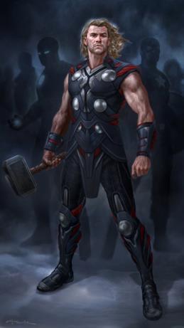 Thor il Vendicatore disegnato senza il mantello