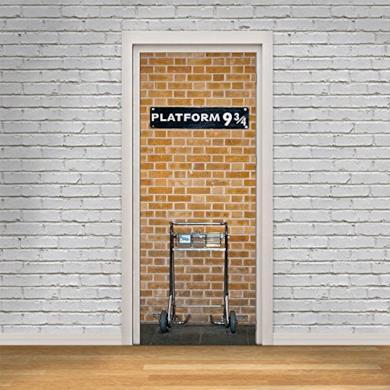 HYSENM - poster per porte 3D in PVC, adesivo per porta, pellicola decorativa, carta autoadesiva, Tessuto, Harry Potter, 77*200cm