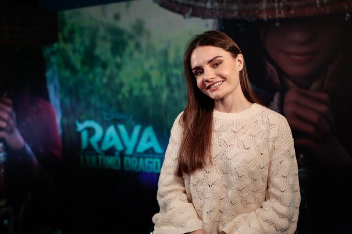 Maryna al photocall per Raya e l'Ultimo Drago