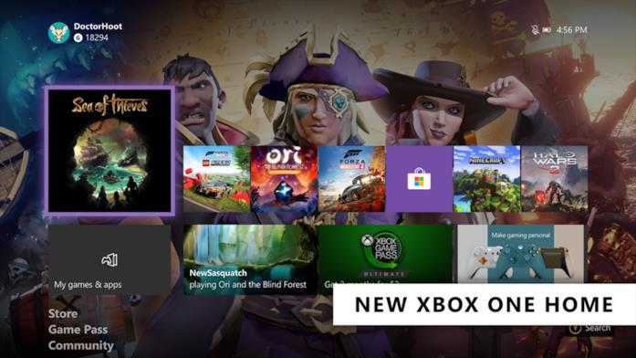 Screen della schermata Home di Xbox One con l'aggiornamento Feb 2020
