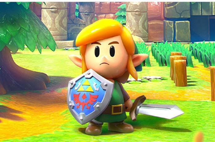 Link in una schermata di un videogame della serie The Legend of Zelda