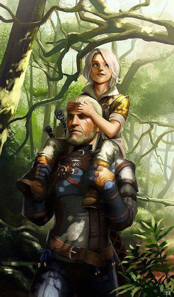 Lo strigo Geralt e la piccola Ciri nel bosco di Brokilon