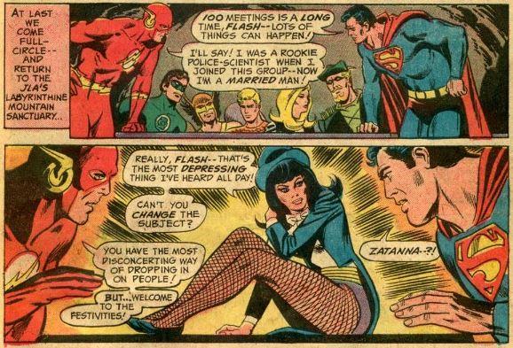 Zatanna seduta in posa sexy in una pagina di un fumetto DC Comics anni '70