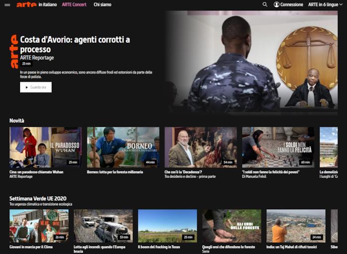 La Home di ARTE TV Italita