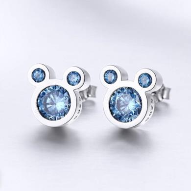 Shysnow blu mini topolino mouse orecchini con zirconi regalo di compleanno per figlia