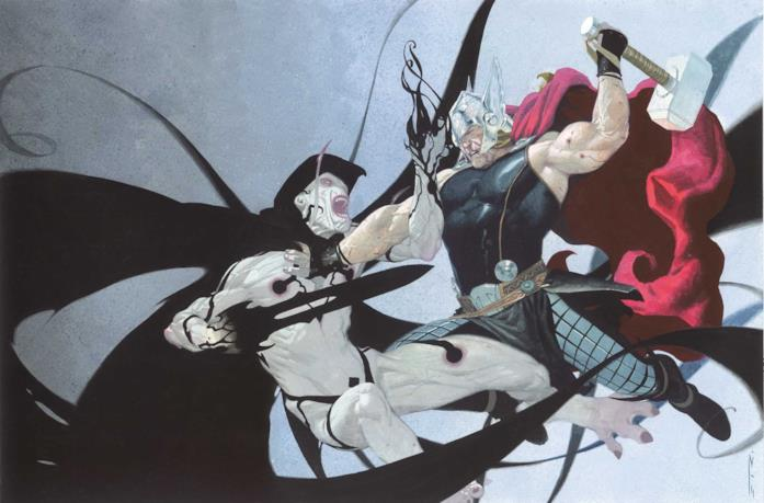 Gorr e Thor si affrontano in una illustrazione di un albo Marvel