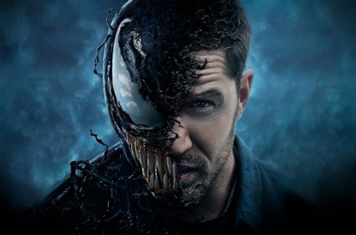 Un primo piano di Eddie Brock nel poster di Venom