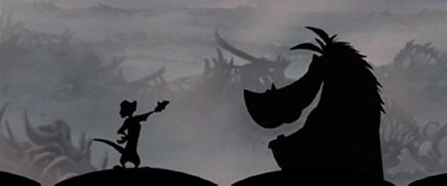 Timon e Pumbaa in una scena de Il Re Leone 3 - Hakuna Matata