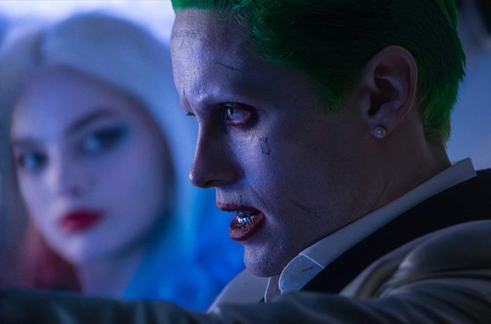 Un primo piano di Jared Leto nei panni di Joker