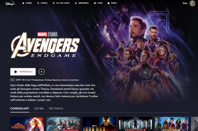 Marvel Avenger ENDGAME su Disney+ italia