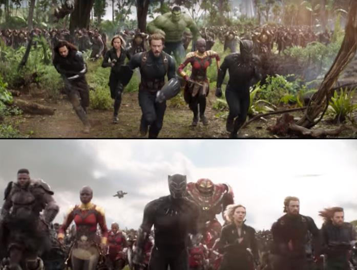 L'immagine del trailer di Avengers: Infinity War che mostra Hulk e quella dello stesso film con Hulkbuster che sostituisce Hulk