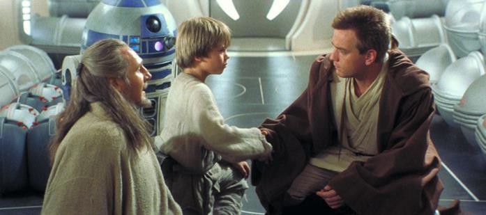 Jake Lloyd, Liam Neeson ed Ewan McGregor in Star Wars: Episodio I - La minaccia fantasma
