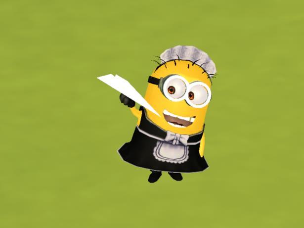 Il Minion Tom vestito da cameriera