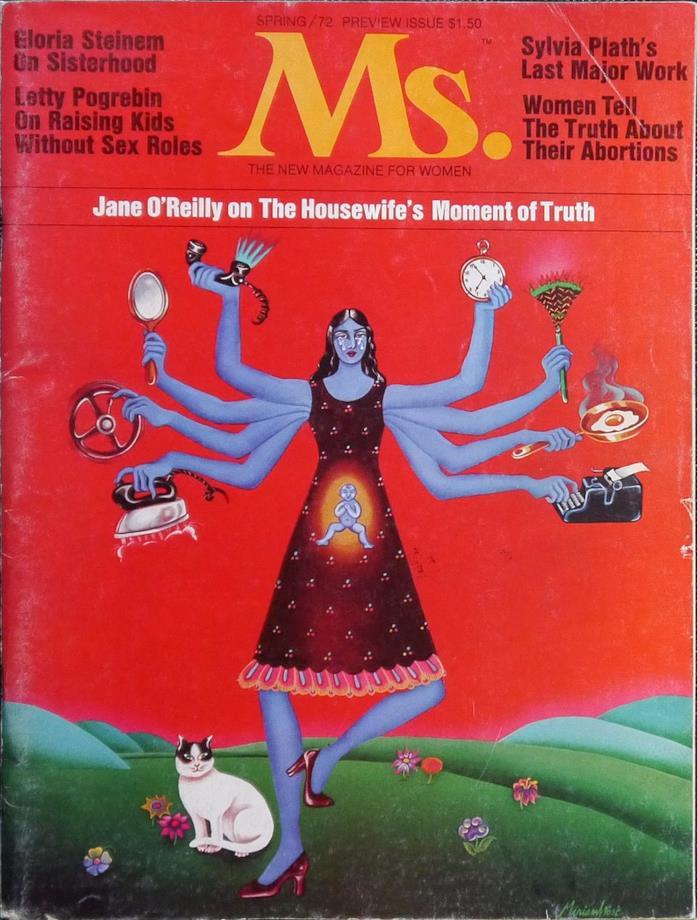 Una donna con più braccia su sfondo rosso