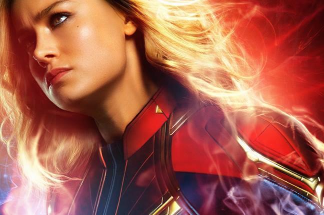 Un primo piano di Captain Marvel