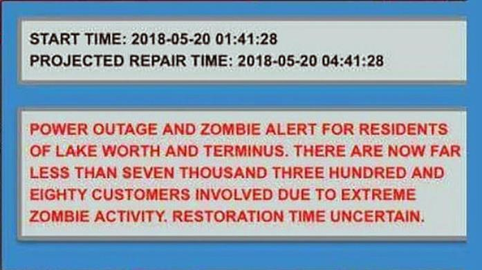 Messaggio di una compagnia elettrica in Florida che annuncia un'attività Zombie