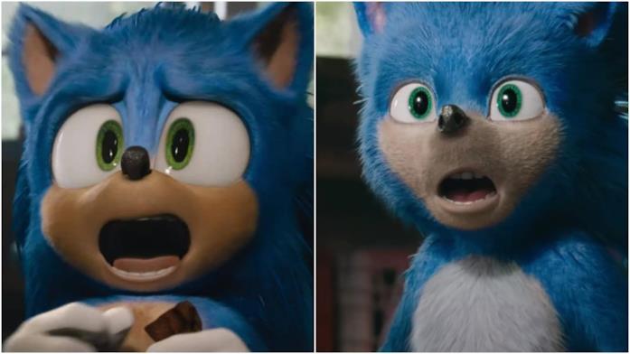 I due design di Sonic a confronto in due fotogrammi dai trailer