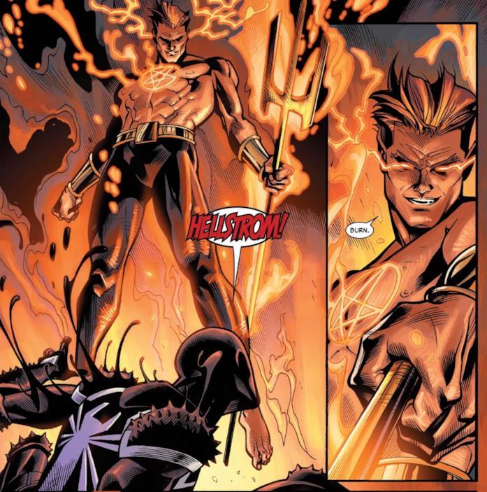 Hellstrom in una illustrazione per un albo Marvel Comics