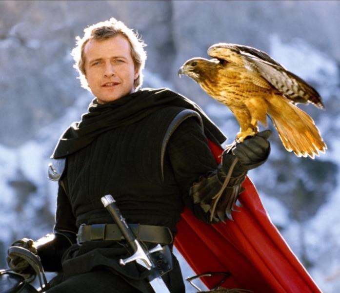 Rutger Hauer e il suo falco in Ladyhawke